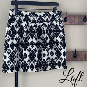 LOFT LINEN BLEND POCKET BLACK & WHITE MINI SKIRT